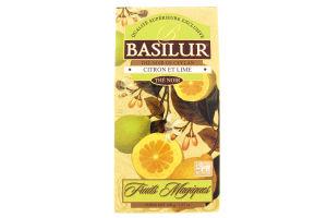 "Чай чорний Basilur Magic Fruits ""Лимон і лайм"" 100 г картон"