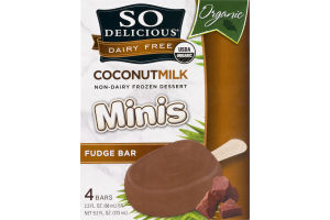 So Delicious Organic Dairy Free Minis Coconut Milk Frozen Dessert Fudge Bars - 4 CT