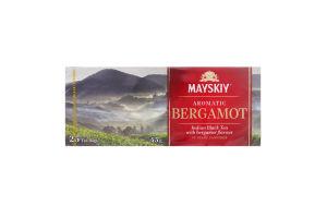 Чай чорний індійський байховий дрібний Ароматний бергамот Майский к/у 25х1.8г/уп