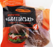 Булочки темні з солодом Балтійські Київхліб м/у 4х60г