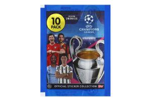 Наклейки Champions League season 2020/21 Topps 10шт