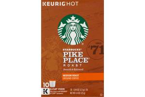 Starbucks Keurig Hot Pike Place Medium Roast Ground Coffee K-Cup Pods - 10 CT