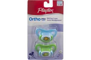 Playtex Ortho-Pro 0-6M Silicone Pacifiers - 2 CT