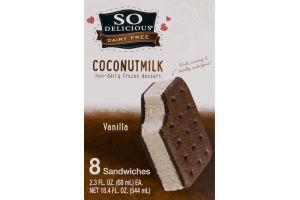 So Delicious Dairy Free Coconut Milk Non-Dairy Frozen Dessert Sandwiches Vanilla - 8 CT