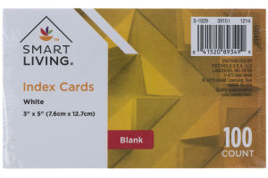 Smart Living Index Cards White - 100 CT