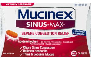 Mucinex Sinus-Max Sever Congestion Relief Caplets - 20 Ct