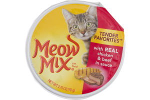 Meow Mix Cat Food Tender Favorites Real Chicken & Beef In Sauce