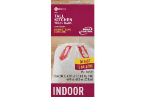 SE Grocers Tall Kitchen Trash Bags Drawstring Closure Indoor - 20 CT