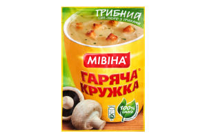 Суп-пюре швидкого приготування Грибний з грінками Гаряча кружка Мівіна м/у 15г