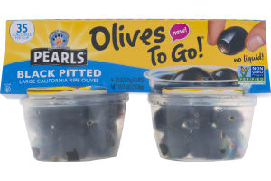 Pearls Olives To Go! Black Pitted Large California Ripe Olives - 4 PK