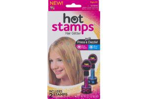 Hot Stamps Hair Glitter Pink Heart/Blue Star