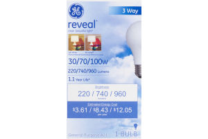 GE Reveal 3 Way 30/70/100W Bulb