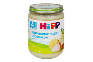 Пюре для детей от 4мес Картофель с кроликом Hipp с/б 190г
