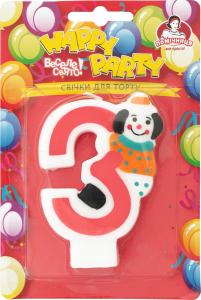 Свеча-цифра для торта с клоуном №3 Happy Party Помічниця 1шт