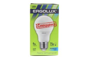 Лампа Ergolux LED A60 9W 4K E27 cold white 12412