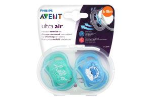 Пустушка для дітей від 6-ти до 18-ти місяців №SCF342/22 Ultra air Avent 2шт