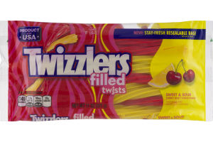 TWIZZLERS Twists Sweet and Sour Filled Candy in Cherry and Citrus Punch Flavors, 11 oz