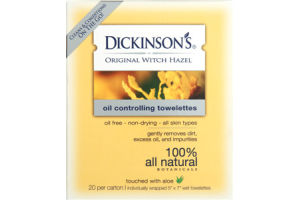 Dickinson's 100% All Natural Original Witch Hazel Oil Controlling Towelettes- 20 CT