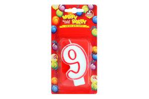 Свічка-цифра для торту глазурована 7.5см №P52-618/9 Happy Party Помічниця 1шт
