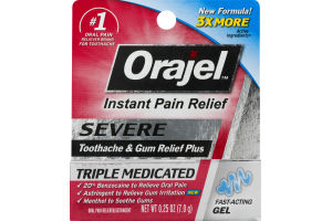 Orajel Instant Pain Relief Severe Tootache & Gum Relief Plus Fast-Acting Gel