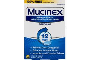 Mucinex Expectorant Bi-Layer Tablets - 40 CT