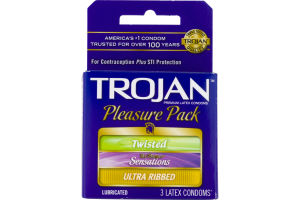 Trojan Premium Lubricated Latex Condoms Pleasure Pack - 3 CT