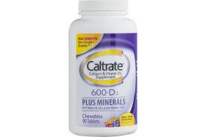 Caltrate Calcium & Vitamin D3 600+D3 Plus Minerals Cherry, Orange & Fruit Punch- 90 CT