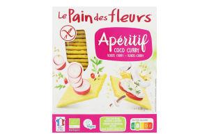 Хлібці органічні без глютену з кокосом та каррі Aperitif Le Pain des Fleurs к/у 150г