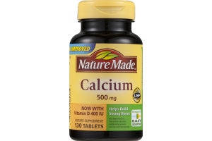 Nature Made Calcium 500mg With Vitamin D 400 IU - 130 CT