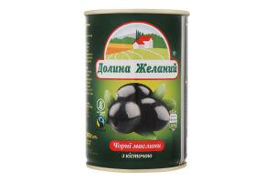 Маслини чорні з кісточкою Долина Желаний з/б 425мл