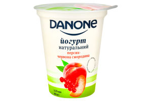 Данон йогурт 2,5% стакан 260г персик-червона смородина