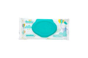 Салфетки влажные детские Sensitive Pampers 56шт