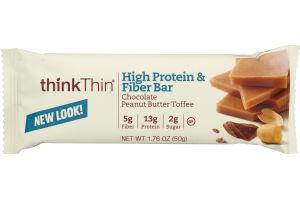 thinkThin High Protein & Fiber Bar Chocolate Peanut Butter Toffee