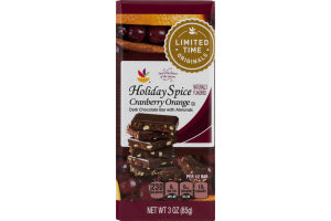 Ahold Holiday Spice Cranberry Orange Dark Chocolate Bar with Almonds