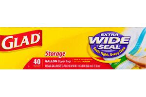 Glad Food Storage Bags, Zipper Gallon, 40 Count