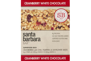 Santa Barbara Bar Cranberry White Chocolate - 12 CT