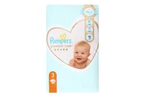 Підгузники дитячі одноразові 6-10кг 3 Premium Care Pampers 60шт