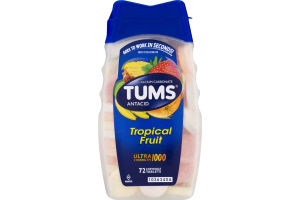 Tums Antacid Ultra Strength 1000 Chewable Tablets Tropical Fruit - 72 CT