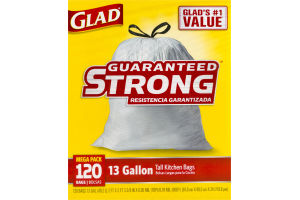 Glad Tall Kitchen Drawstring Trash Bags, 13 Gallon, 120 Count