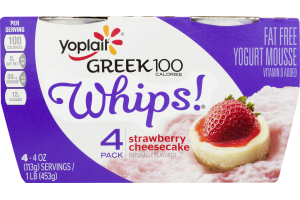Yoplait Whips! Greek 100 Fat Free Yogurt Mousse Strawberry Cheesecake - 4 CT
