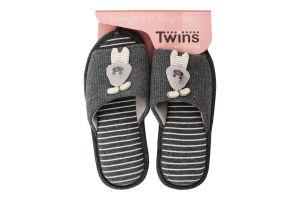 Тапочки открытые домашние женские №4580 Twins 36-37 gray rabbit