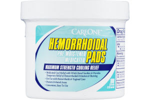 CareOne Hemorrhoidal Pads Maximum Strength Cooling Relief - 100 CT