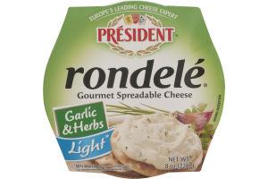 President Rondele Gourmet Spreadable Cheese Garlic & Herbs Light