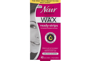 Nair Hair Remover Wax Ready-Strips For Face & Bikini - 40 CT