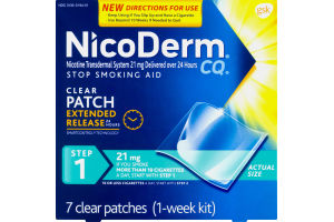 NicoDerm Stop Smoking Aid Clear Patch Extened Release Step 1 (1-Week Kit) - 7 CT
