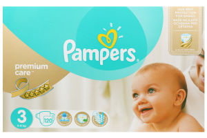Подгузники Premium Care Midi Pampers 3 4-9кг 120