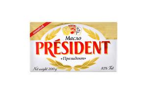 Масло 82% несоленое President м/у 200г