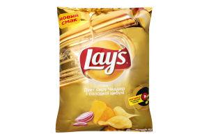Чіпси картопляні зі смаком сиру Чеддер і цибулі Lays м/у 120г
