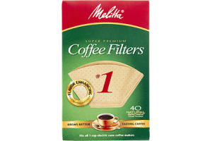 Melitta Super Premium #1 Natural Brown Cone Coffee Filters - 40 CT