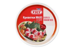 Креветки із сурімі в олії зі смаком чилі Maxi Vici відро 340г